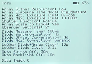 Information Display Showing Meter Parameter Settings n Included with Measurement Data File