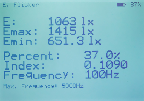 Standard display showing the illuminance and flicker parameters